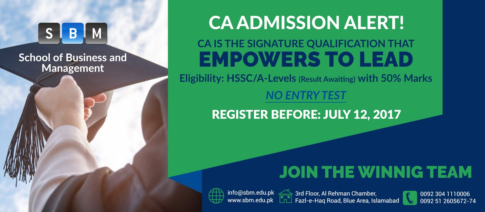 SBM offers admissions for Batch 2 of CA