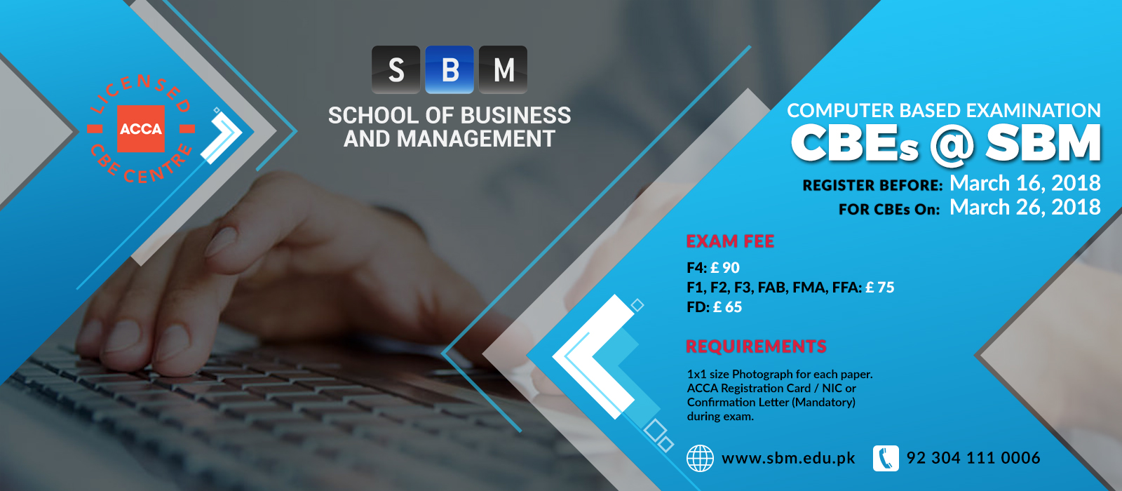 Register before 16 March for CBE exam on 26 March, 2018