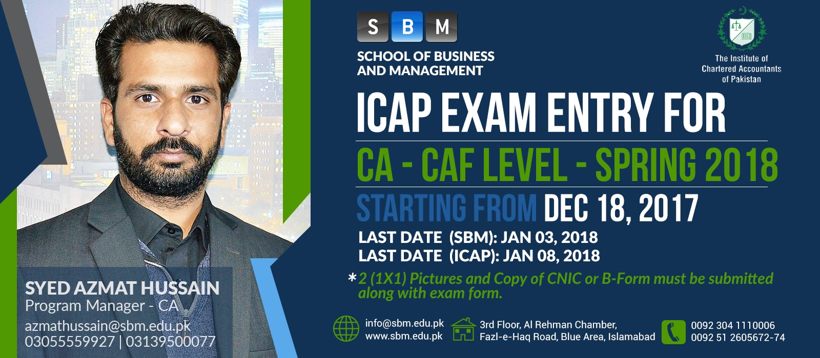 ICAP Exam Entry for CAF level Session Spring 2018